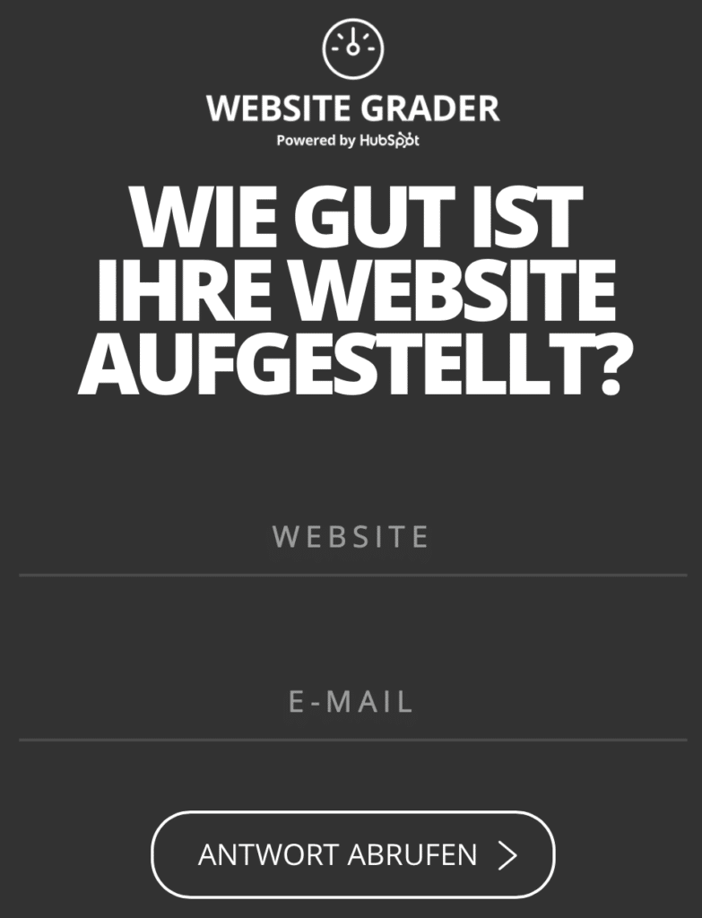 Hubspot Website Grader Beispiel für Engineering as Marketing