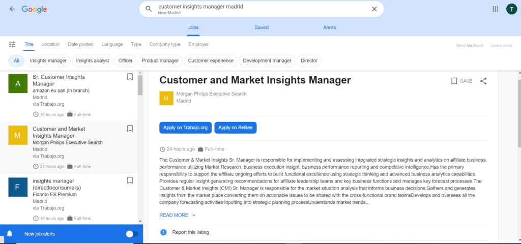 Google for Jobs Advanced View
